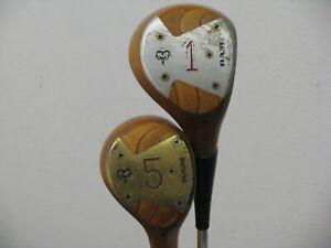 RAM Blonde Persimmon Woods Set: 1 & 5 Woods Regular Flex Steel Very Nice!!
