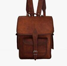 """16x12' Real Leather Backpack 15"""" Macbook Laptop Rucksack Shoulder Bag Book Bag"""