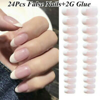 24Pcs Acrylic Gradient French Nail Art Full False Fake Nails Tips  w/ 2g Glue UK