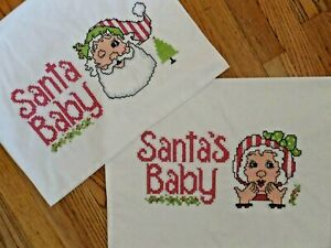 VINTAGE HAND EMBROIDERED CROSS STITCH SANTA BABY WINK KISS CHRISTMAS PILLOWCASES