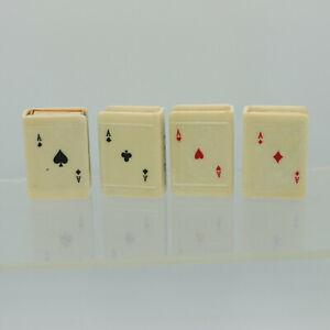 Ace of Clubs Hearts Diamonds Spades Cards Match Safe Matchbox Holder Vintage Set