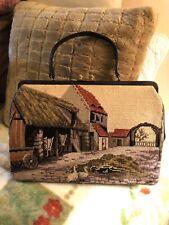 Large Vintage Needlepoint Tapestry Purse Handbag Farmhouse Print Double Sided