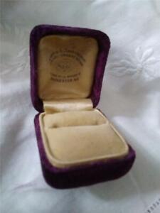 VICTORIAN Square PURPLE Velvet Jewelry Ring Box Marks & Abramson Rochester NY