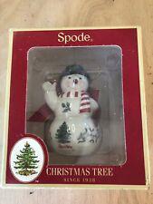 NIB SPODE Snowman W/ Black Hat  Christmas Tree Ornament Porcelain -