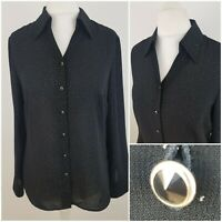 M&S Black Silver Polka Dot Shiny Long Sleeved Shirt Top Blouse Button Front 12