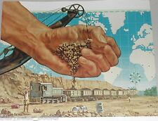 1954 Union Carbide advertisement, Manganese, mine locomotive, ore cars,