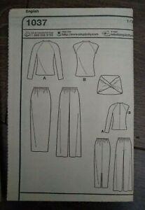 Simplicity Leisure Wear Sewing Pattern 1037 Multi-Size Sizes 8-18 UNCUT