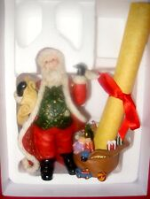 NIB Retired Partylite Christmas Checking His List Tealight Candle Holder