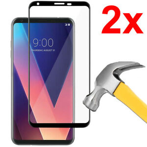 2x Full Coverage Tempered Glass Screen Protector for LG V30
