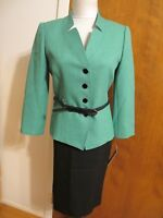 Tahari Asl Women's green black 2 Piece Skirt Suit Size 6 new