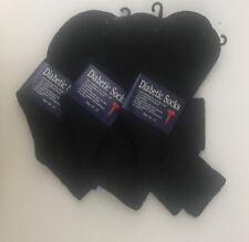 12 pairs Diabetic Men's Health Socks- Size 10-13/ for Blood Circulation-Black