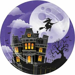 """Haunted Mansion Flying Witch 8 Ct 7"""" Dessert Cake Plates Halloween"""