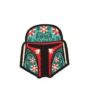 "Boba Fett CALAVERA IRON ON PATCH 3"" Embroidered Star Wars Flowers Sugar Skull"