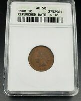 1908 Indian Cent Penny Variety Coin ANACS AU58 RPD 001 Repunched Date S-18