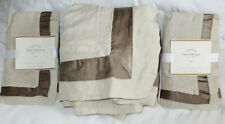 Pottery Barn Linen with Silk Trim Full Queen Duvet Cover 2 Euro Shams Brownstone
