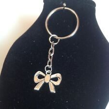 Bow key ring  silver plated