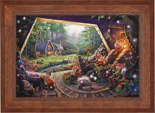 Thomas Kinkade Snow White And The Seven Dwarfs 24 x 36 S/N Canvas (Rustic Frame)