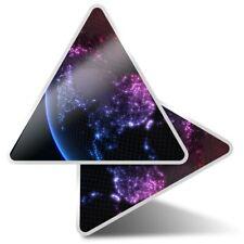 2 x Triangle Stickers 10 cm - Neon Globe Map Earth  #2396