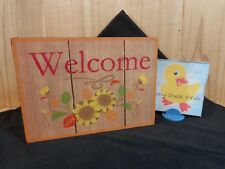 """WELCOME PLAQUE Fall Sunflowers 5"""" x 7"""" Wood Red Glitter Sides Table or Wall"""