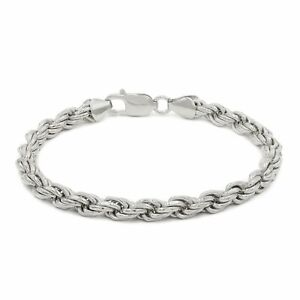 925 Sterling Silver 1.5mm - 5.5mm Solid Rope Diamond Cut Rhodium Plated Bracelet