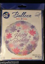 """Cti Happy Birthday Floral Foil Balloon Dazzeloons 18""""/45 cm Item#114721"""