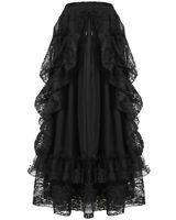 Dark IN Love Femme Long Gothique Jupe Noir Maille Dentelle Victorien Steampunk