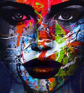 JUST Face Ultra HD XXL132,3x150 Acrylglas PopArt/Malerei/Loft/Gemälde/Street Art