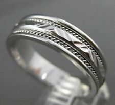ESTATE WIDE 14K WHITE GOLD DIAMOND CUT ROPE FILIGREE WEDDING BAND RING 6mm 23102