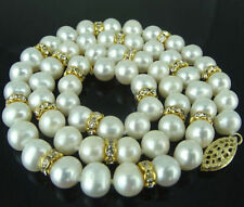 """Long 36"""" 8-9mm Real Natural White Akoya Cultured Pearl 14K GP Necklace JN844"""