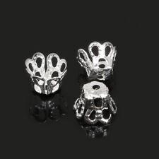 Lot 50 Coupelles / caps / Calottes Metal 6mm x 5mm Argenté perles breloques