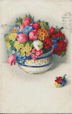 uralte AK, Künstler-Postkarten-Serie 2599, bunter Frühlingsstrauß