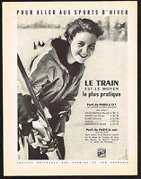 1956 Vintage SNCF Train Travel Ski Skiing Feher Photo Print Ad