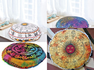 Lot Of 5 Pcs Sunsign Mandala Cushion Cover Bohemian Pouf Floor Cushion Cover