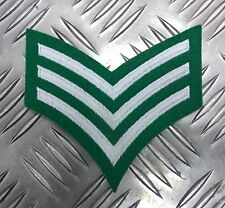 Genuine Military Issue Sergeant Rank Stripes 3 Chevrons Silver on Green EPB38