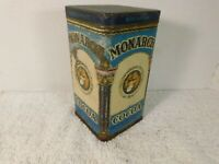 Antique Monarch 16 Ounce Cocoa Tin With Hinged Lid