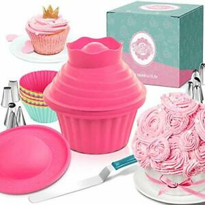 MoNiRo large cupcake baking tin - Extra XXL muffin tin with piping nozzles and