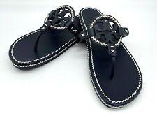 NIB TORY BURCH Women's Whipstitch Miller Logo Leather Flat Slide Sandals 8.5M