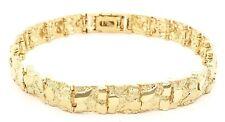 "Real 10k Yellow Gold Nugget Bracelet Adjustable 7"" - 7.5"" 9.5mm 21 grams"