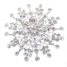 Elegant Vintage Rhinestone Snowflake Flower Style Silver Pin Brooch