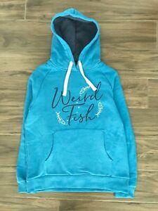 New ex Weird Fish UK Size 22 Ladies Blue Embroidered Jumper Fleece Hoodie Top