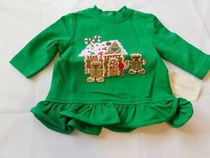 Starting Out Baby Girl's Gingerbread Cookie House Long Sleeve Shirt 3 months NWT