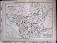 1903 LARGE MAP TURKEY IN EUROPE SERVIA BULGARIA BOSNIA MONTENEGRO CRETE RUMELIA