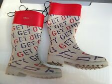 BNWT Ladies or Teenage Sz 11 Quality Rivers Doghouse Grey & Red Printed Gumboots