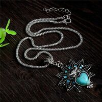 Woman Bohemian Vintage Fashion Thai Silver Turquoise Pendant Necklace Jewelry