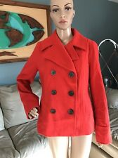 Old Navy Red Orange Wool Blend Peacoat Pea Coat Jacket Double Breasted Woman's M