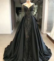 Mermaid V-neck Long Train Black Formal Dresses Arabic Evening Gown Party Prom