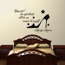 Quote Give A Girl The Right Shoes Wall Stickers Mural Bedroom Decor Vinyl Decal
