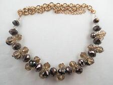 PREMIER QUALITY Topaz/Bronze Helix Glass Bead Design Choker Necklace