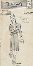 "1940s Vintage Sewing Pattern B34"" DRESS (181)"