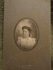 CABINET PHOTO Young Girl Bust Shot Sturgis MI dated 1902 6-1/2 x 4-1/4 Vintage